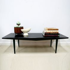 Vintage Mid Century Modern Black Slat Bench/Coffee Table. -rarely saw black furniture in the 50-60's