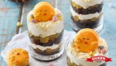 Choc Orange Easter Trifles with Chick Macarons - Queen Fine Foods Family Meals, Family Kids, Family Recipes, Easter Recipes, Trifles, Macarons, Baking Recipes, Cravings, Cheesecake