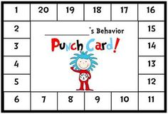 Dr. Seuss Themed Behavior Punch Card with Thing 1 - good idea - use as positive behavior - then maybe do a treat when all punched...