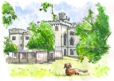 May 6, 2018. Sketches from summer V: Rusovce Mansion near Bratislava. Ink, watercolor. #drawing #painting #art #artonpinterest #sketch #ink #watercolor #urbansketching #bratislava #rusovce #park #dog #mansion #trees #slovakia
