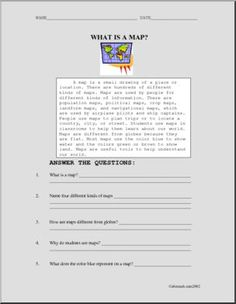 Comprehension: What Is a Map? - Read this brief explanatory text about maps and answer the comprehension questions.
