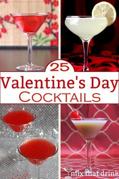 A collection of 25 Valentine's Day cocktails, featuring drinks that are red or pink, or have romantic names. When choosing the right cocktail for Valentine's Day, what really matters is who's drinking it. Cocktail Names, Cocktail Mix, Cocktail Drinks, Cocktail Recipes, Drink Recipes, Valentine Drinks, Valentines Day Food, Holiday Drinks, Holiday Recipes