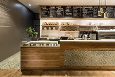 restaurant, interior, Pano Brot & Kaffee by DIA – Dittel Architekten - Hotels Design Projects Wood Restaurant, Modern Restaurant, Restaurant Design, Cafeteria Design, Café Design, Design Garage, Cafe Counter, Counter Design, Cafe Interior Design