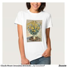 Claude Monet Jerusalem Artichoke Flowers 1880 Women's Tee Shirt. Features a floral painting by famous French painter Claude Monet. A vintage masterpiece of a vase with yellow flowers. These flowers resemble yellow daisies or sunflowers. Visit for more details and to see more products with this painting.