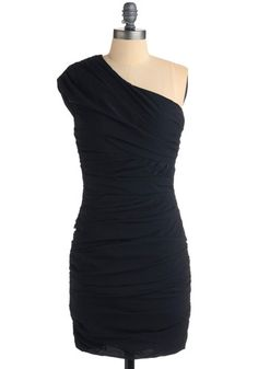 Love one shoulder dresses, and love navy for fall.