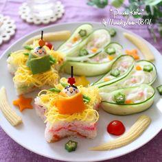 手作り型と頂き物で♡星に願いを☆彡七夕ちらし寿司素麺プレート