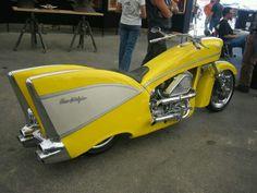 Úžasný motocykel Chevy z roku 1957 (Video) - správy Bobbers, Side Car, Automobile, 1957 Chevy Bel Air, Cool Motorcycles, Hot Bikes, Choppers, Mellow Yellow, Custom Bikes