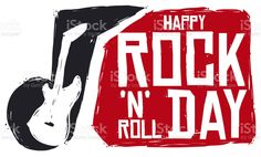 Banner with brushstrokes of music note and electric guitar silhouette with greeting, to celebrate a happy Rock 'N' Roll Day. Happy Rock, Magazine Articles, Free Vector Art, Music Notes, Feature Film, Photo Illustration, Brush Strokes, Image Now, Rock N Roll