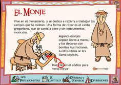 Monk - this is in Spanish: need it translated, someone. Medieval World, Medieval Knight, Ap Spanish, Middle Ages, Religion, Castle, Teaching, Comics, Blog