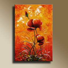 Canvas Print of Original acrylic painting Red Poppies Wall hanging Decorative Art