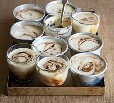 Vanilla pannacotta with espresso swirl