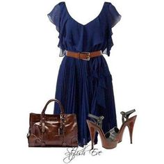 Blue dress with brown belt and brown purse .