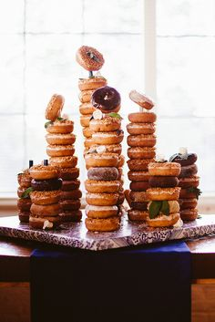 Doughnut stack set on sweets table/cheese buffet