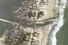 An inlet that was created by the storm connects the Atlantic Ocean and the Jones Tide Pond, just north of where Hurricane Sandy made landfall in Ocean County, New Jersey.