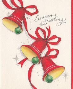 Vintage Christmas Bells. Season's Greetings. Vintage Christmas Card.