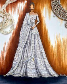 Fashion Model Sketch, Fashion Design Sketchbook, Fashion Sketches, Fashion Drawing Dresses, Fashion Illustration Dresses, Fashion Illustrations, Indian Fashion, Fashion Art, Fashion Models