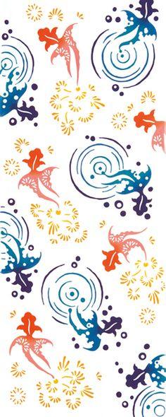 【手ぬぐい(てぬぐい)・日本手拭い】[気音間]夏尾びれ【夏・金魚(きんぎょ)・水面・和風・タペストリー】手ぬぐい専門店「わざっか本舗」