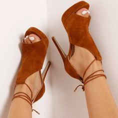 'Cersei' Lace Up Heel In Tan Faux Suede