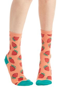 These Fruits are Made for Walkin' Socks in Strawberry - Pink, Multi, Fruits, Darling, Food, Knit, Novelty Print, Casual, Variation