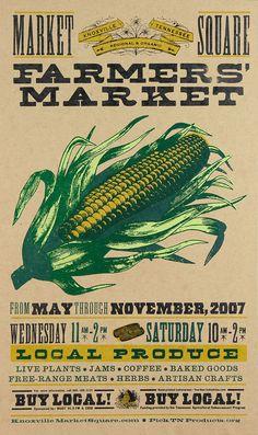 FARMERS MARKET CORN Hand Printed Letterpress Poster