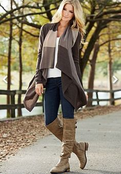 Color block open cardigan sweater. Skinny jeans. Buckle high knee boots.  Fall.  Venus