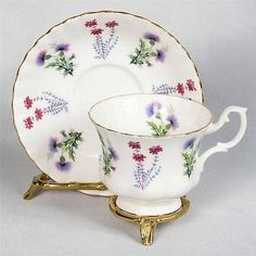 ROYAL ALBERT TEACUP & SAUCER - WHITE DECORATED WITH PURPLE THISTLES in Pottery & Glass, Pottery & China, China & Dinnerware, Royal Albert | eBay