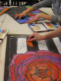 Glue on black paper- Looks like lead of stained glass when dry. Add chalk pastel! ~Smith Middle School, Miss Murphy