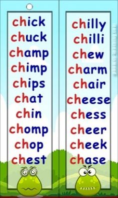ch word list - FREE Printable - ch sound words for phonics lessons Phonics Chart, Phonics Flashcards, Phonics Blends, Phonics Words, Spelling Word Practice, Spelling For Kids, Phonics Lessons, Kindergarten Lessons, Phonics Reading
