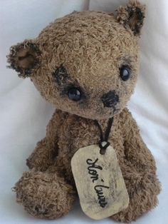 To Little Orange Girl. Here, another Bear for you. Looks like Baby Gentle Ben. From Bear. Old Teddy Bears, Vintage Teddy Bears, My Teddy Bear, Boyds Bears, Bear Doll, Bear Art, Cute Bears, Old Toys, Felt Animals