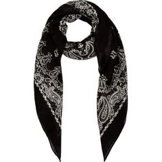 Saint Laurent Black and Beige Paisley Bandana Scarf ($438) ❤ liked on Polyvore featuring accessories, scarves, paisley scarves, paisley shawl, paisley bandana, yves saint laurent and square scarves