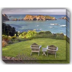 Two Chairs Overlook: 40 x 30 Outdoor Canvas Giclee