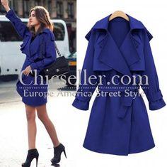 ChicSeller Blue Lapel Belt Long Trench Coat