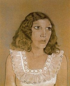 Girl in a White Dress, crayon pastel, 48 x 57cm, Lucian Freud 1947 (23) collection of Mrs Pamela Wynn
