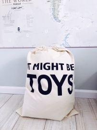 "opbergzak canvas ""it might be toys""   opbergen   Popjes & Zo   Unieke kraamcadeautjes   kinderkameraccessoires   boxkleden op maat"