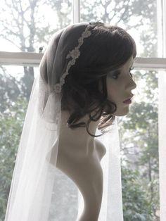 Vintage style veil - couture bridal cap veil -1920s wedding veil - Lady Constance. £85.00, via Etsy.