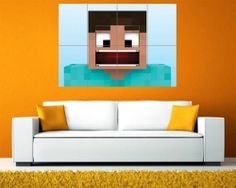 MINECRAFT STEVE GIANT TILED POSTER PRINT WALL ART S6220 | eBay