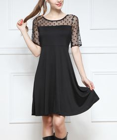 Look at this Black Sheer-Yoke A-Line Dress - Women on #zulily today!