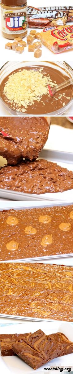 Chocolate Crack Ingredients: 60 ounces milk chocolate, chips or coarsely chopped 2 cups of crushed potato chips 1 1/2 cups creamy peanut butter 3 tablespoons water 22 squares of carmel (5.8 ounces) 2 tablespoons heavy cream, warmed 1 (12.25 ounce) jar caramel ice cream topper, warmed
