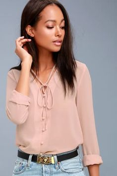 Prepare to be schooled in style by the Style Education Blush Pink Blouse! Sheer woven blouse with a neck tie and full loop button placket. Dressy Tops, Blush Color, Blush Pink, Blue Long Sleeve Dress, Pink Midi Dress, Cute Tops, Blouses For Women, Ideias Fashion, Dresses With Sleeves