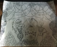 Day of the Dead backdrop design for our craft events next week. Asking people to help colour and fill it up.