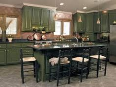 dark green cabinets in kitchen - Google Search