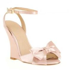 Perfect Wedding Shoe Blush Color And Bow Are Sweet The Wedge Adds Comfort
