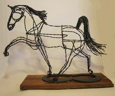 Wire Sculpting | Recycled wire Tennesse Walker Horse Sculpture by Ponyart