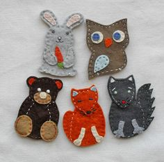Forest animals finger puppets by feltonfinger on Etsy Felt Puppets, Five Little, Sewing Hacks, Sewing Tips, Forest Animals, Cute Crafts, Early Childhood, Hand Sewing, Creations