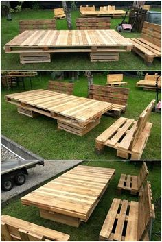 Rearrange wood pallets to dress your home within economical way. . So salvaging wood pallets can be enthralling and low priced. You can spend your leisure time in captivating way. Reuse wood pallets to make couches and give a grand look to your place. Wood pallet garden furniture set is giving natural,simple and rustic all over.