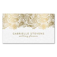 Elegant Gold And White Paisley 2 Wedding Planner Double-Sided Standard Business Cards (Pack Of This great business card design is available for customization. All text style, colors, sizes can b (Elegant Business Card Gold) Business Card Maker, Gold Business Card, Elegant Business Cards, Cool Business Cards, Business Card Design, Business Ideas, Best Wedding Planner, Wedding Planning, Wedding Advice