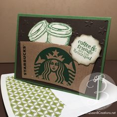 Handmade card using a recycled Starbucks sleeve. Stampin up perfect blend stamp set. Coffee Theme, Coffee Cards, Coffee Sleeve, Scrapbooking, Card Tags, Card Kit, Creative Cards, Homemade Cards, Stampin Up Cards