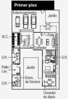Para el diseño de estos PLANOS , se tuvo en cuenta que el terreno está ubicado en una esquina con medidas de 15 m x 25 m (en total son 375 m...