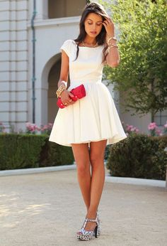 Add bright accessories to your favorite white dress!