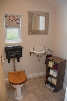 Thomas Crapper toilet and sink installed with custom built apple crate #crapper #thomascrapper #victorian #bathroom #applecrate